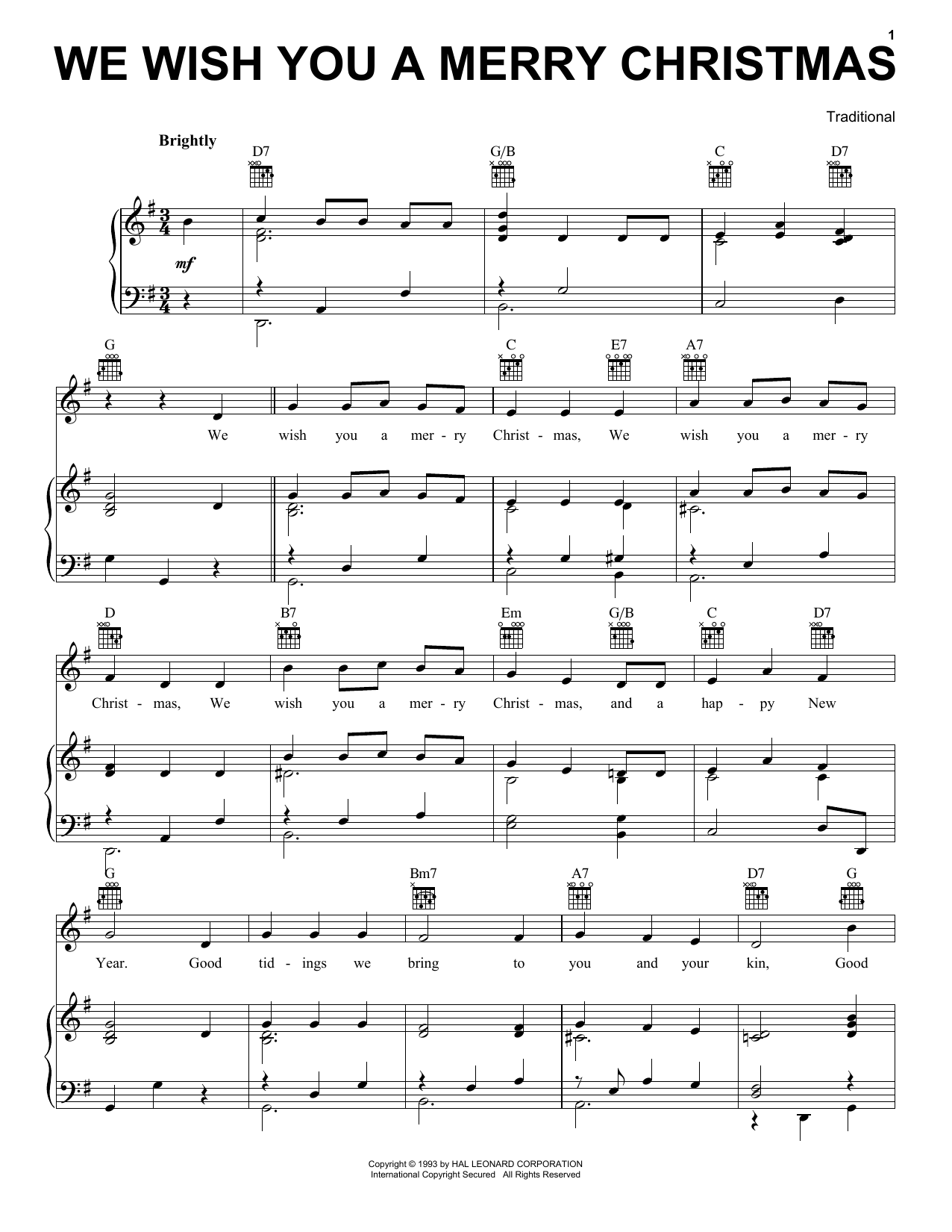 Traditional English Folksong We Wish You A Merry Christmas sheet music preview music notes and score for Accordion including 2 page(s)
