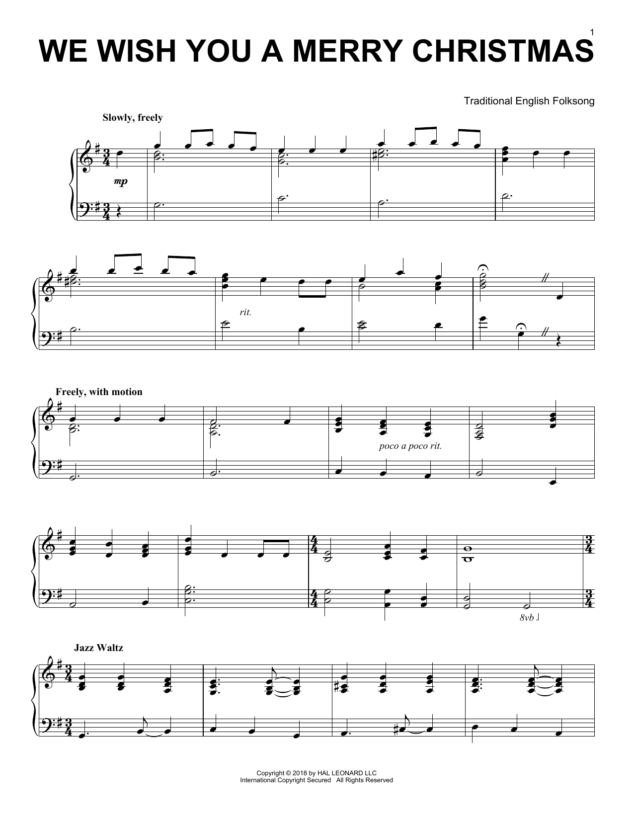 Download Traditional English Folksong 'We Wish You A Merry Christmas' Digital Sheet Music Notes & Chords and start playing in minutes