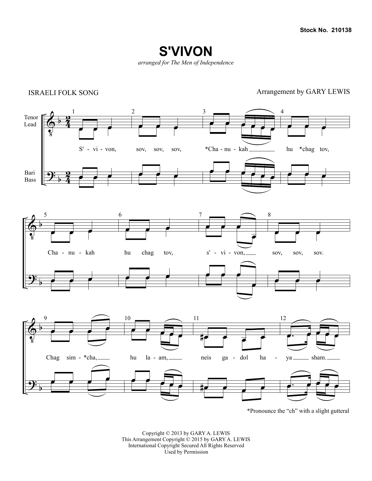 Traditional Folksong S'Vivon (arr. Gary Lewis) sheet music preview music notes and score for TTBB Choir including 6 page(s)
