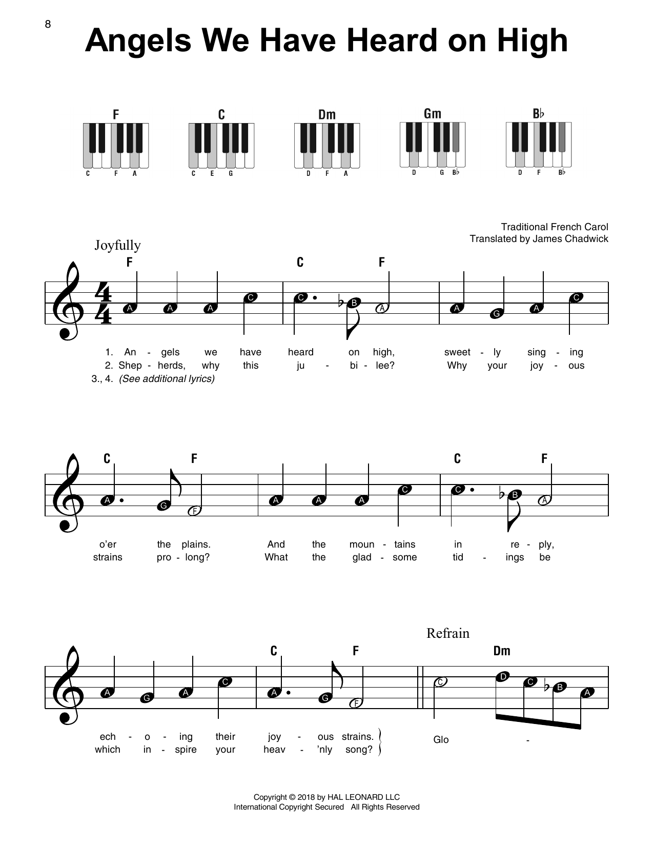 Traditional French Carol Angels We Have Heard On High sheet music notes and chords