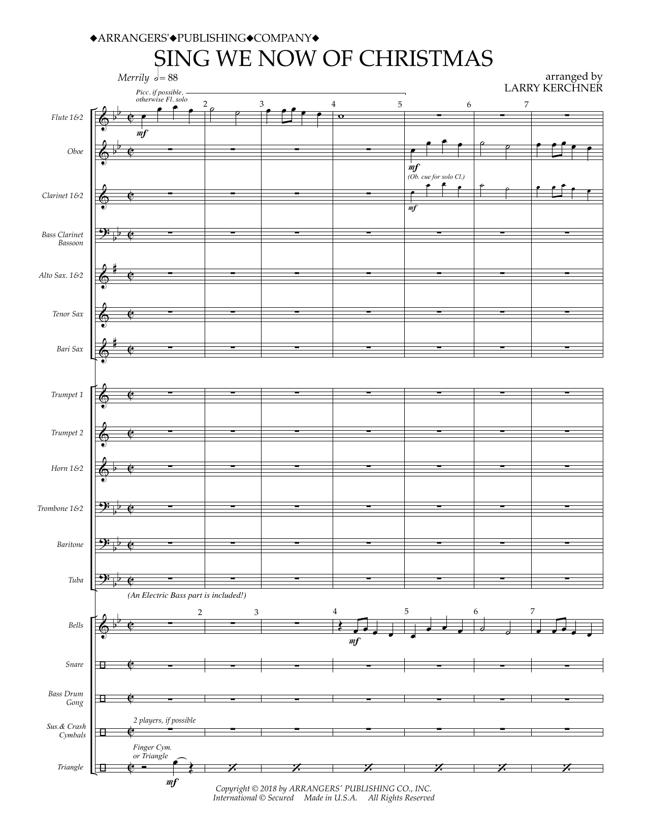 Traditional French Carol Sing We Now of Christmas (arr. Larry Kerchner) - Conductor Score (Full Score) sheet music preview music notes and score for Concert Band including 16 page(s)