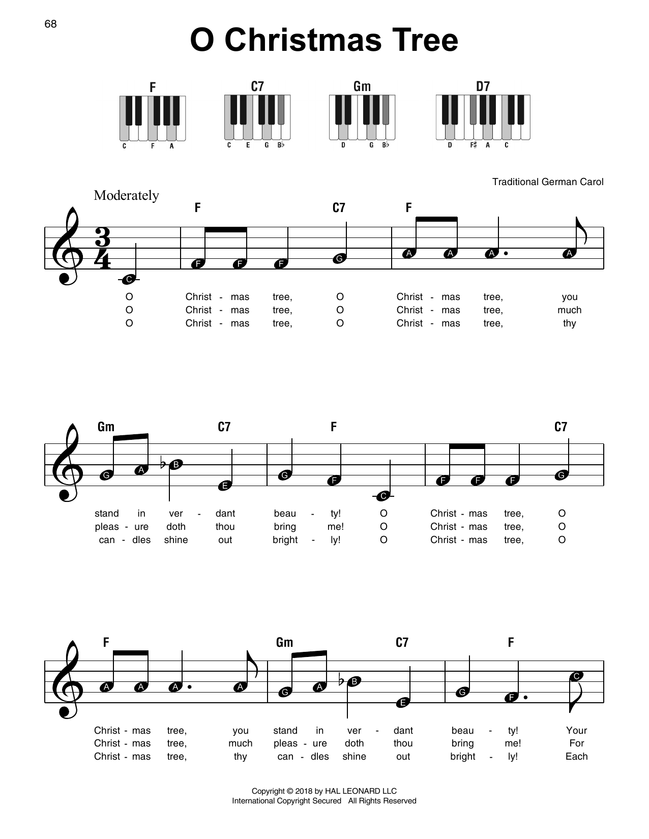 Download Traditional German Carol 'O Christmas Tree' Digital Sheet Music Notes & Chords and start playing in minutes