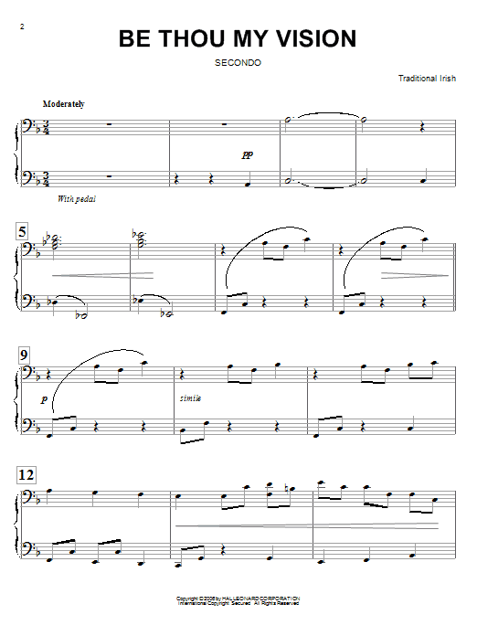 Mary E. Byrne Be Thou My Vision sheet music preview music notes and score for Piano Duet including 6 page(s)