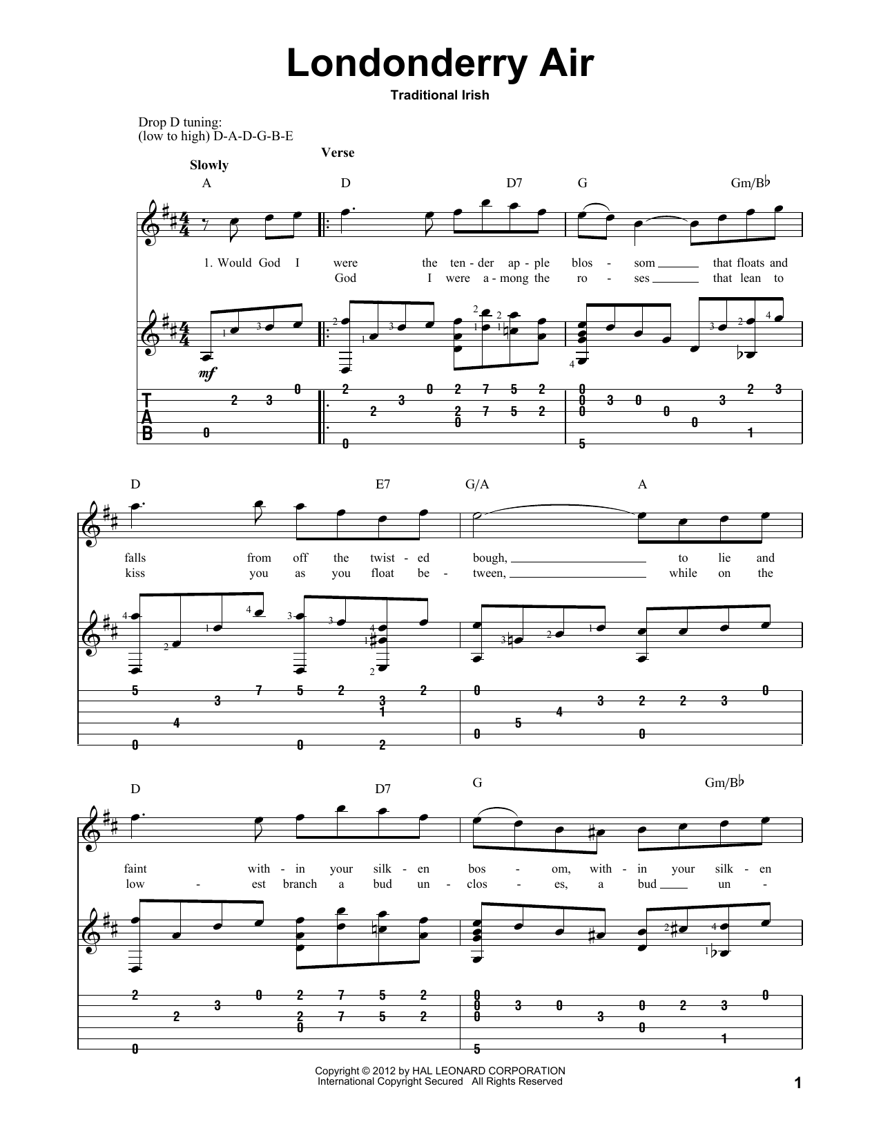 Irish Folksong Londonderry Air sheet music preview music notes and score for Guitar Tab including 3 page(s)