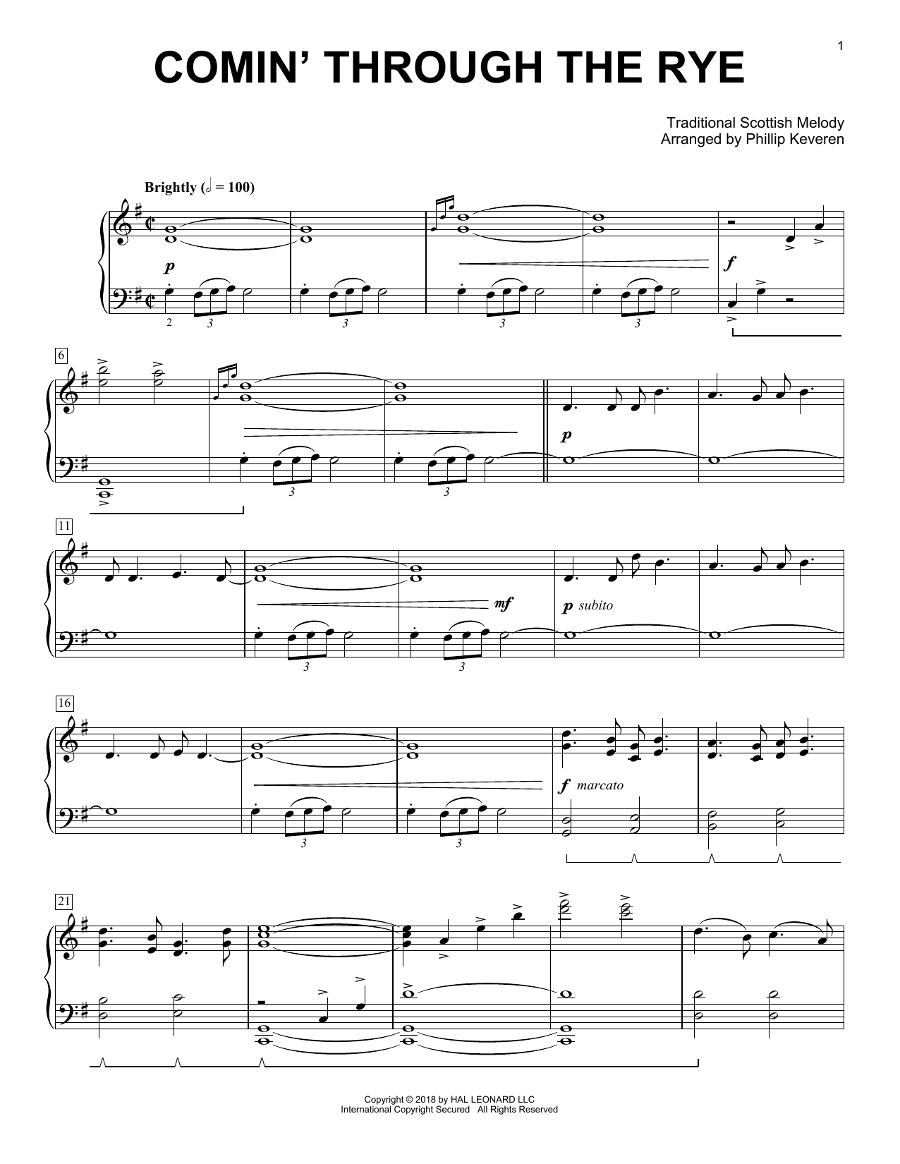 Download Traditional Scottish Melody 'Comin' Through The Rye (arr. Phillip Keveren)' Digital Sheet Music Notes & Chords and start playing in minutes