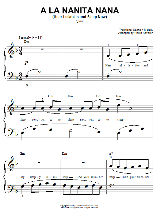 Traditional Spanish Melody A La Nanita Nana (Hear Lullabies and Sleep Now) sheet music preview music notes and score for Guitar Tab including 2 page(s)