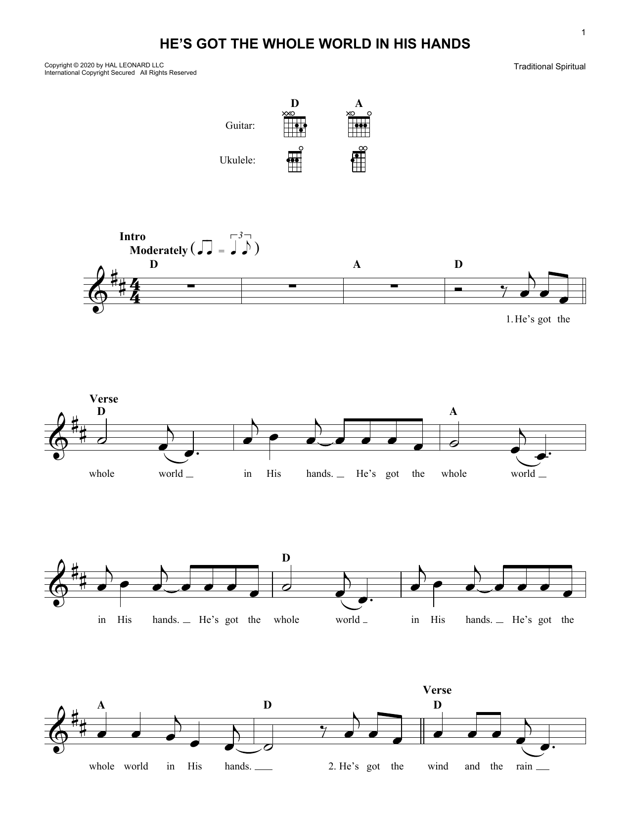 African-American Spiritual He's Got The Whole World In His Hands sheet music notes and chords