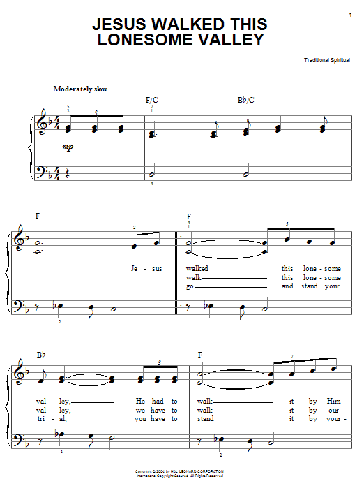 African-American Spiritual Jesus Walked This Lonesome Valley (Myers) sheet music preview music notes and score for Easy Piano including 2 page(s)