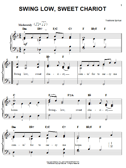 Traditional Spiritual Swing Low, Sweet Chariot sheet music preview music notes and score for Super Easy Piano including 2 page(s)