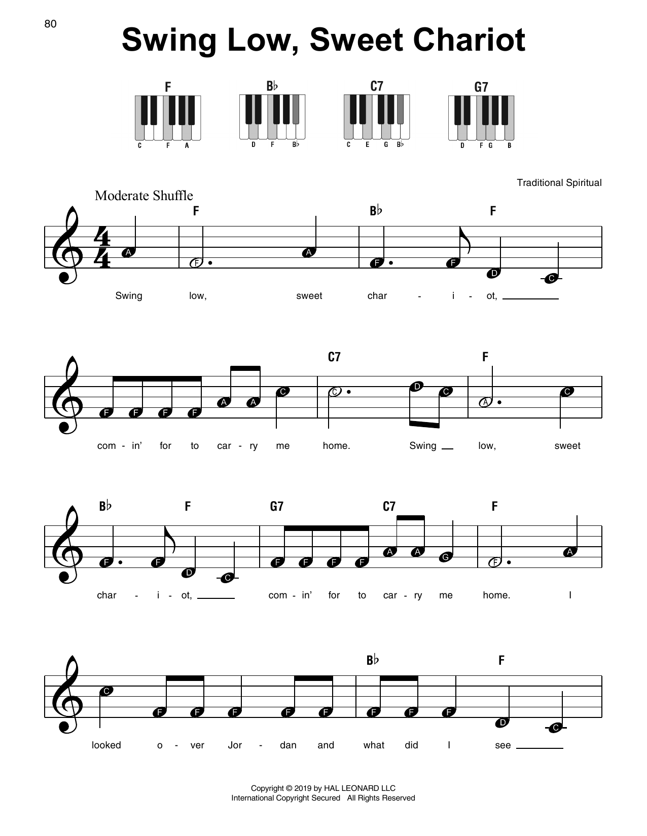 African-American Spiritual Swing Low, Sweet Chariot sheet music preview music notes and score for Easy Piano including 2 page(s)