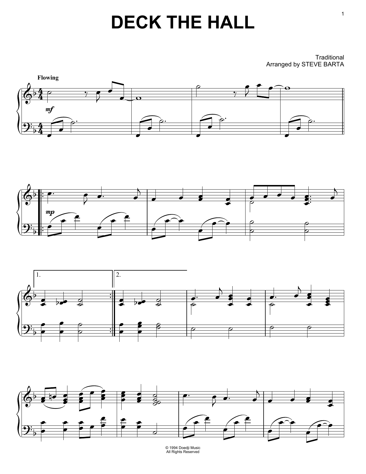 Traditional Carol Deck The Hall sheet music notes and chords