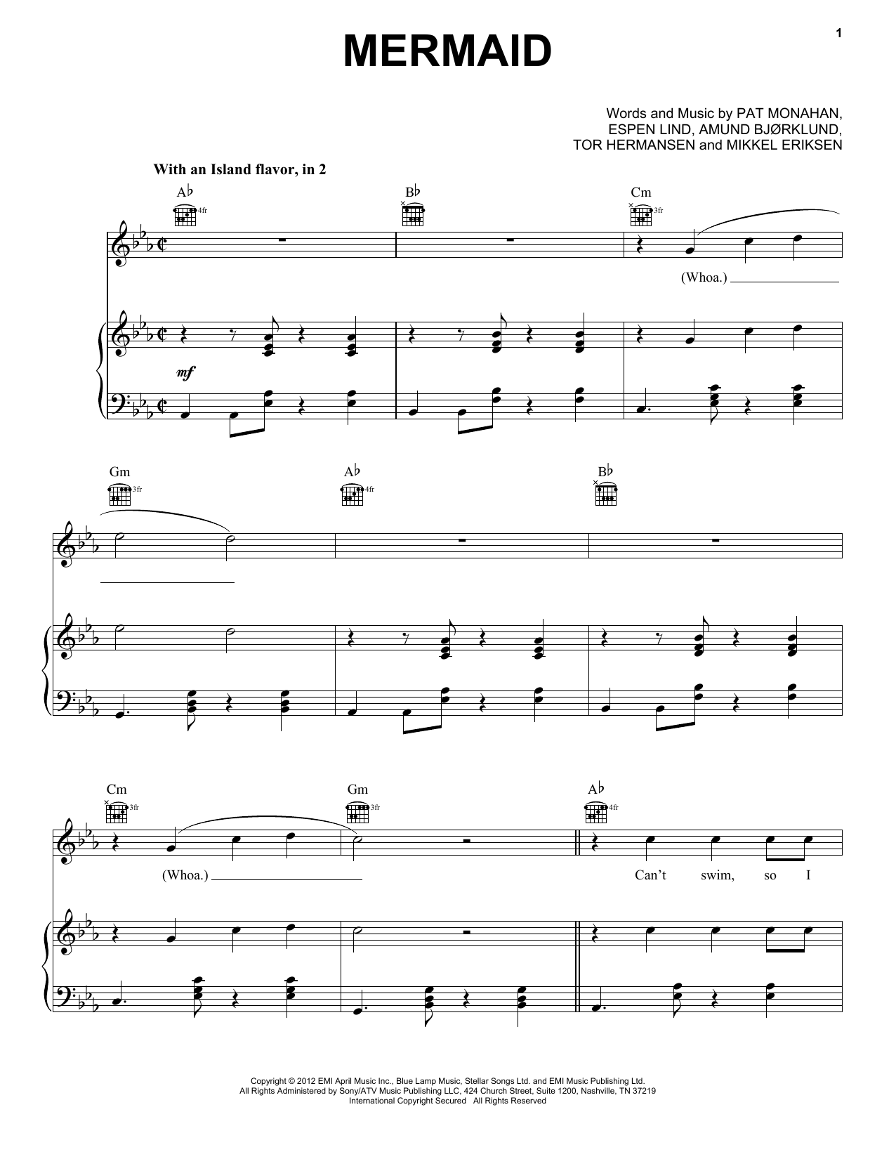 Train Mermaid sheet music preview music notes and score for Piano, Vocal & Guitar (Right-Hand Melody) including 9 page(s)