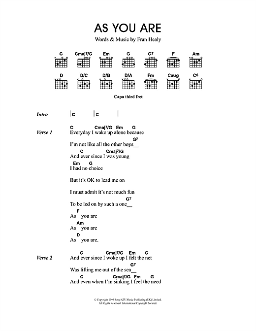 Travis As You Are sheet music notes and chords