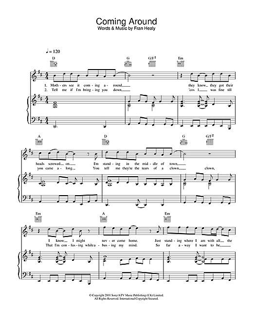Travis Coming Around sheet music notes and chords