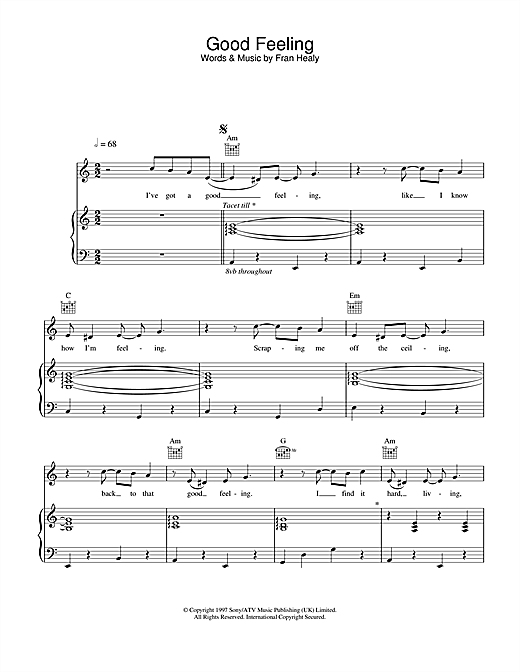 Travis Good Feeling sheet music notes and chords