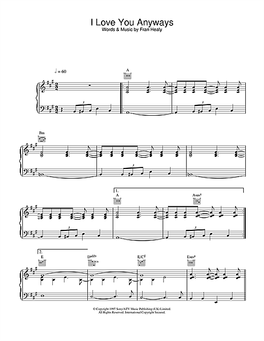 Travis I Love You Anyways sheet music notes and chords