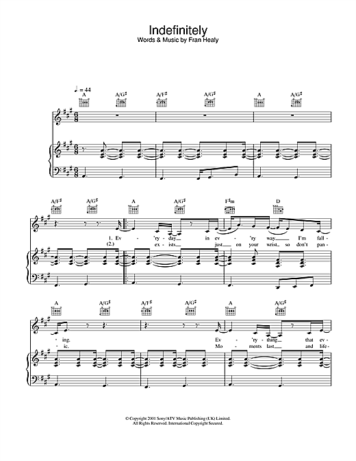 Travis Indefinitely sheet music notes and chords
