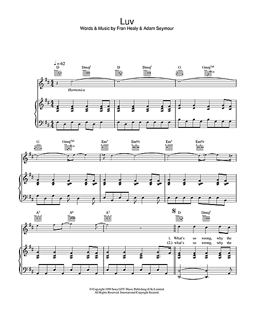 Travis Luv sheet music notes and chords