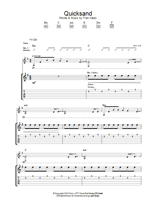Travis Quicksand sheet music preview music notes and score for Guitar Tab including 4 page(s)