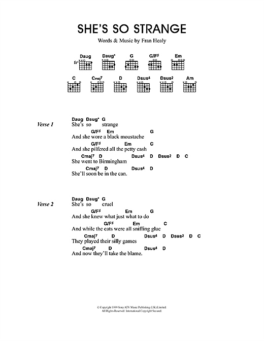 Travis She's So Strange sheet music notes and chords