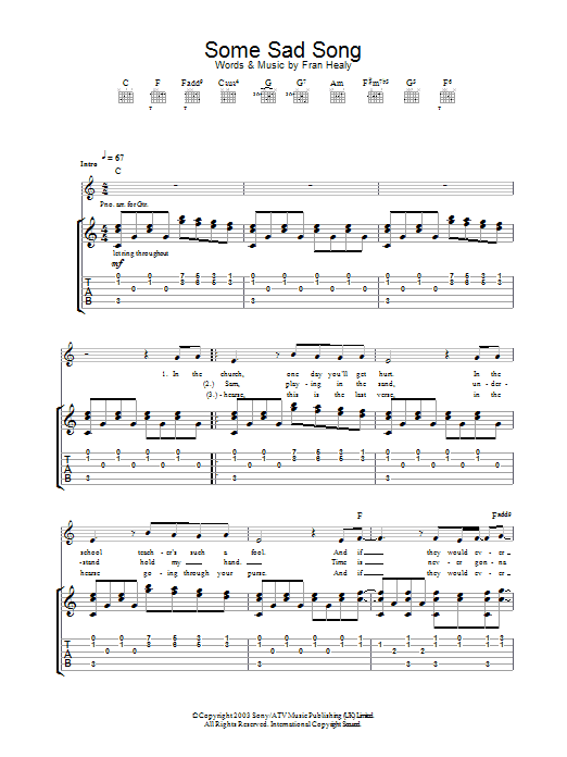 Travis Some Sad Song sheet music preview music notes and score for Guitar Tab including 3 page(s)