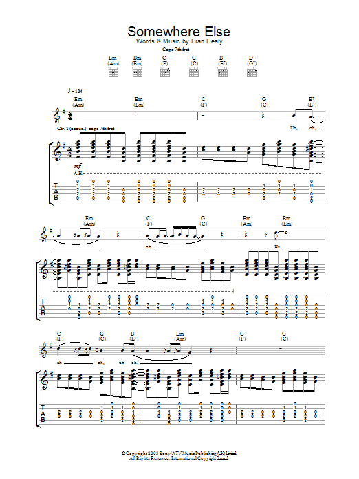 Travis Somewhere Else sheet music preview music notes and score for Guitar Tab including 5 page(s)