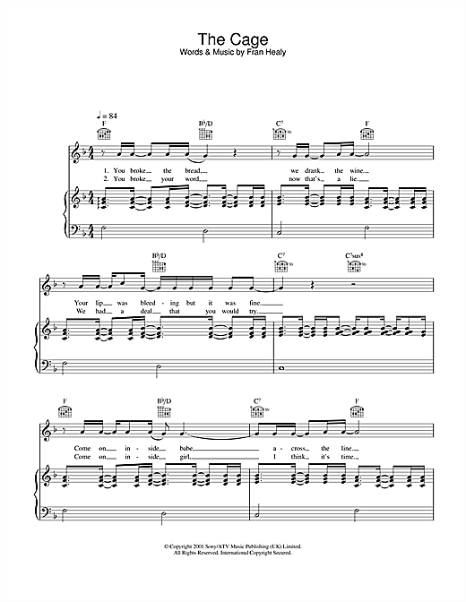 Travis The Cage sheet music notes and chords