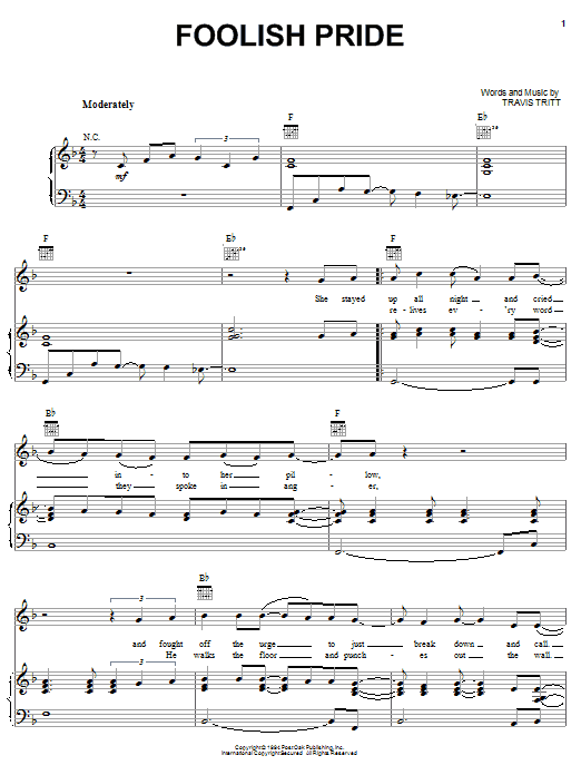 Travis Tritt Foolish Pride sheet music notes and chords