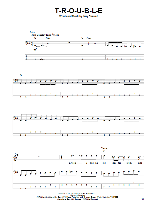 Travis Tritt T-R-O-U-B-L-E sheet music preview music notes and score for Guitar Tab including 10 page(s)