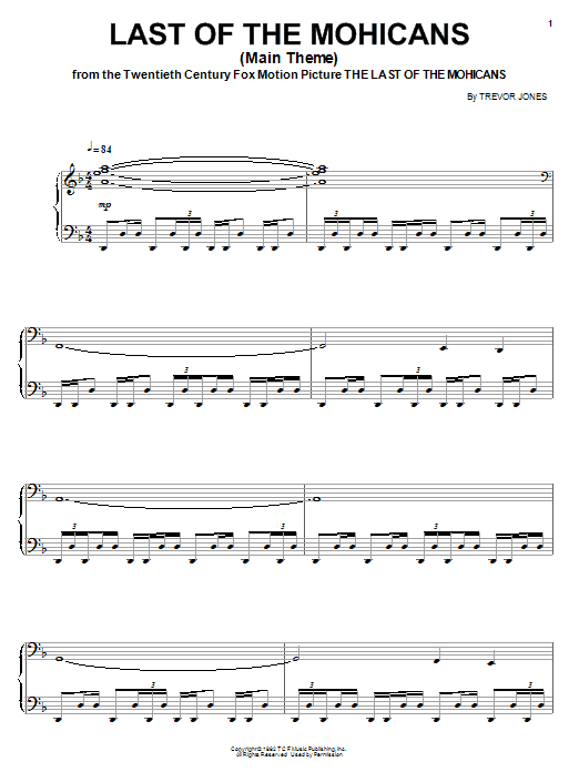 Trevor Jones The Last Of The Mohicans (Main Theme) sheet music preview music notes and score for Piano, Vocal & Guitar (Right-Hand Melody) including 5 page(s)