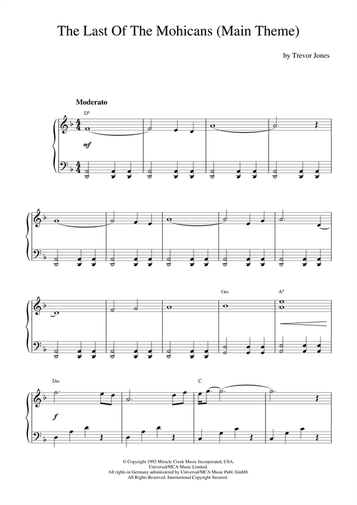 Download Trevor Jones 'The Last Of The Mohicans (Main Theme)' Digital Sheet Music Notes & Chords and start playing in minutes