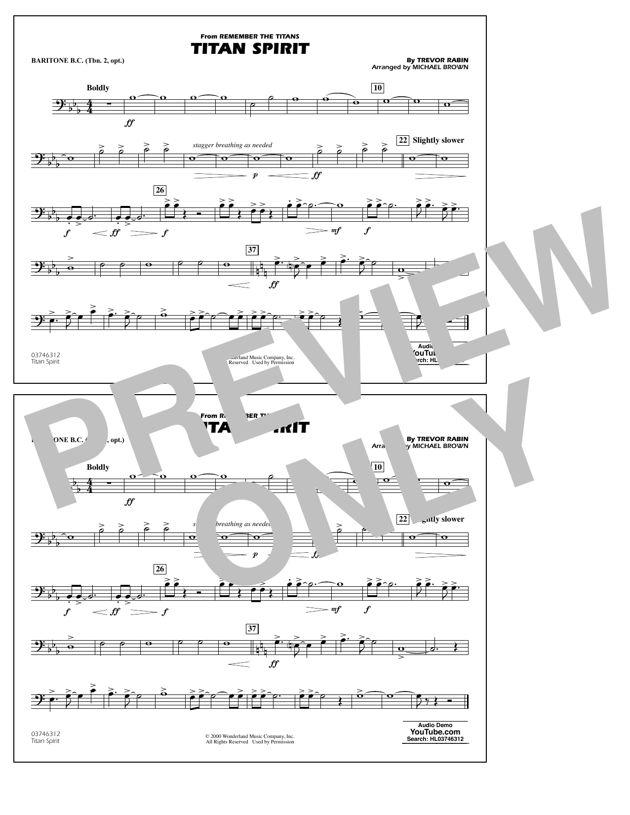 Trevor Rabin Titan Spirit (from Remember the Titans) (arr. Michael Brown) - Baritone B.C. (Opt. Tbn. 2) sheet music preview music notes and score for Marching Band including 1 page(s)