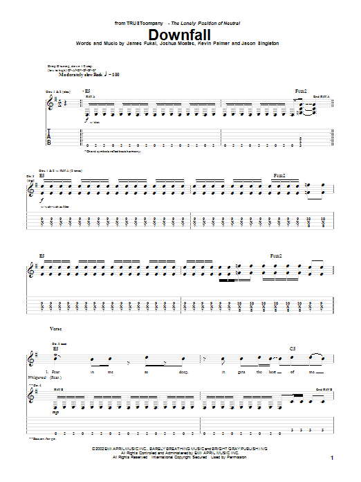 TRUSTcompany Downfall sheet music preview music notes and score for Guitar Tab including 5 page(s)