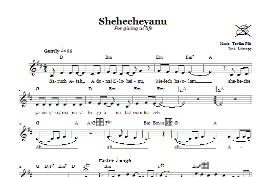 Tzvika Pik Shehecheyanu (For Giving Us Life) sheet music notes and chords