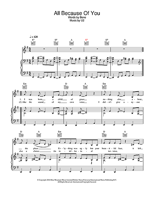 U2 All Because Of You sheet music notes and chords