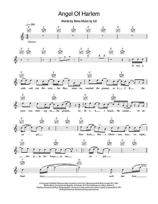 U2 Angel Of Harlem sheet music notes and chords