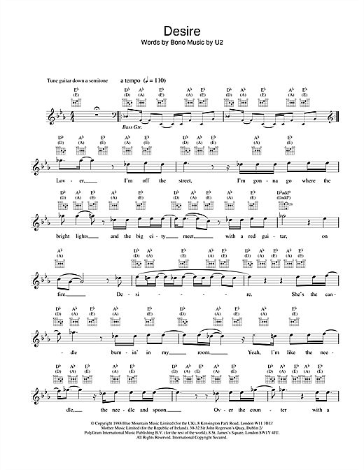 U2 Desire sheet music notes and chords