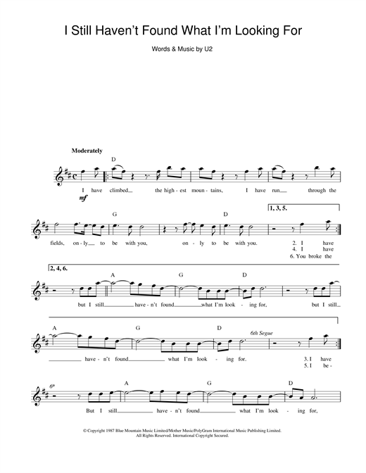 U2 I Still Haven't Found What I'm Looking For sheet music preview music notes and score for Piano, Vocal & Guitar (Right-Hand Melody) including 8 page(s)