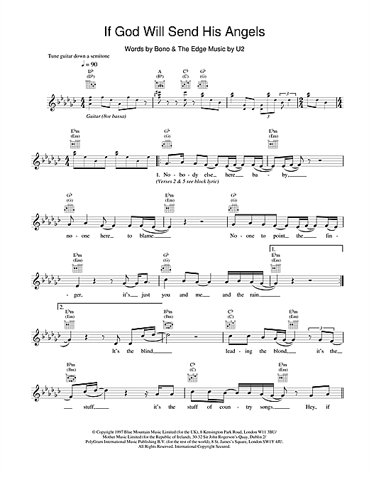 U2 If God Will Send His Angels sheet music notes and chords
