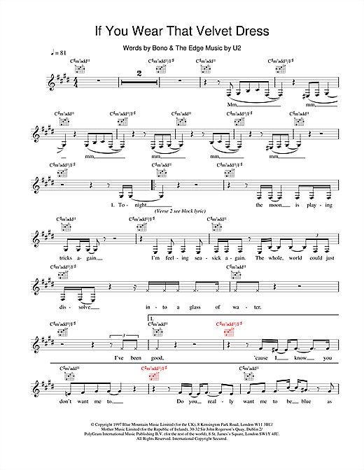 U2 If You Wear That Velvet Dress sheet music notes and chords