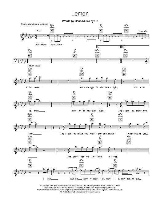 U2 Lemon sheet music notes and chords