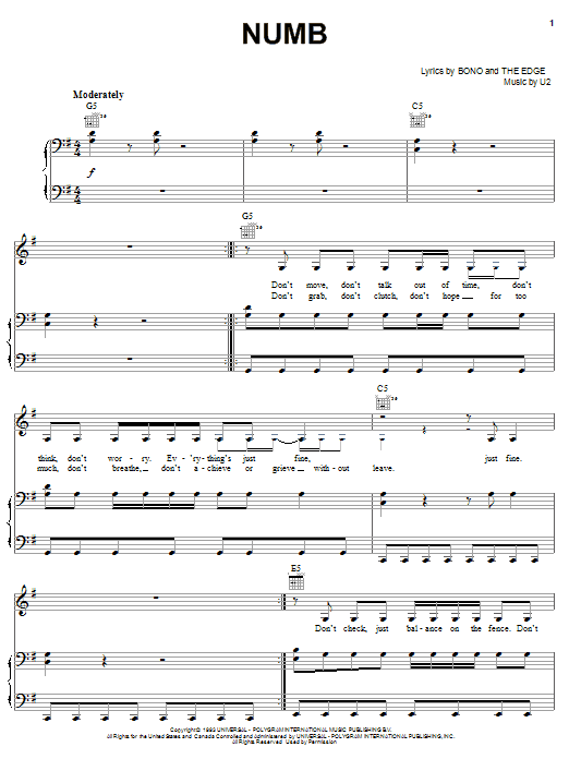 U2 Numb sheet music notes and chords