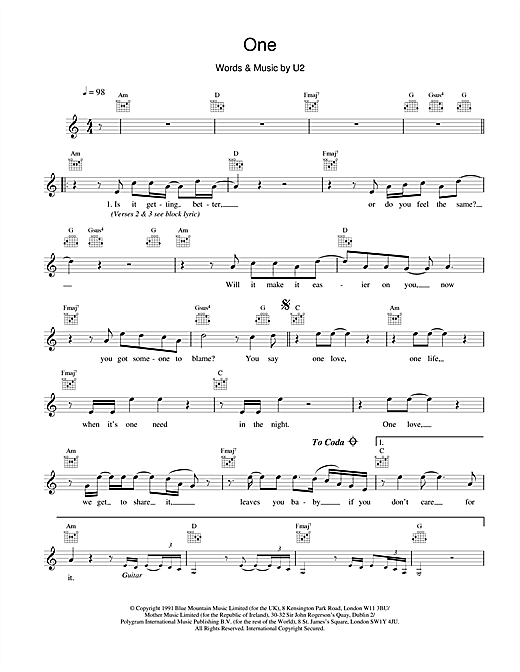U2 One sheet music notes and chords