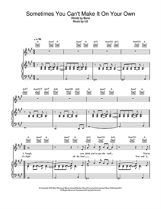 U2 Sometimes You Can't Make It On Your Own sheet music notes and chords