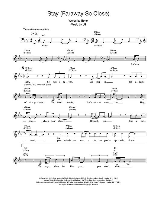 U2 Stay (Faraway, So Close!) sheet music notes and chords