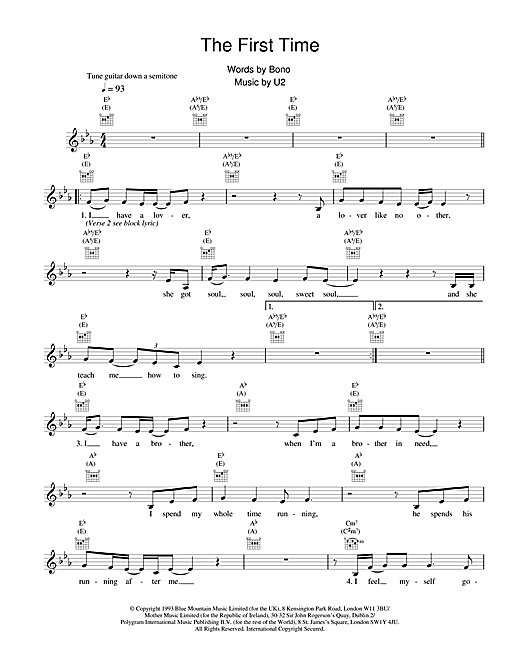 U2 The First Time sheet music notes and chords