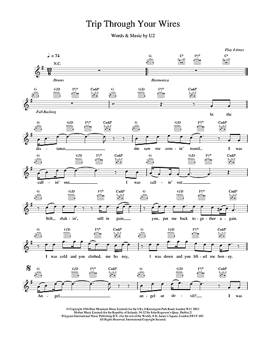 U2 Trip Through Your Wires sheet music notes and chords