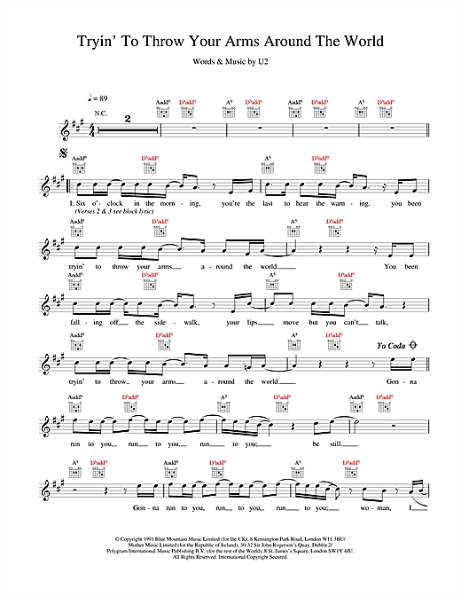U2 Tryin' To Throw Your Arms Around The World sheet music notes and chords