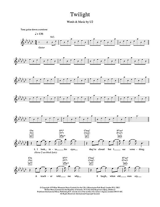 U2 Twilight sheet music notes and chords