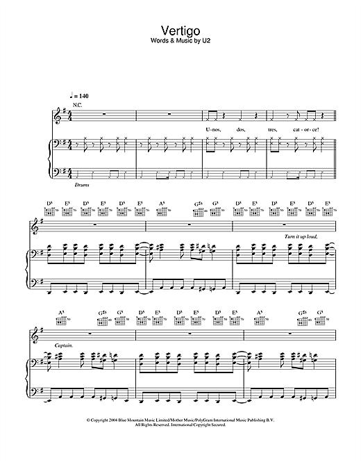 U2 Vertigo sheet music notes and chords